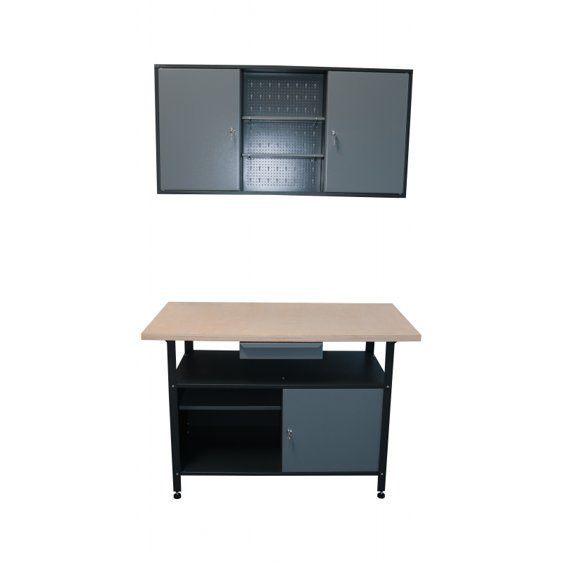 Werkstatt Set  mit Werkbank und Hängeschrank